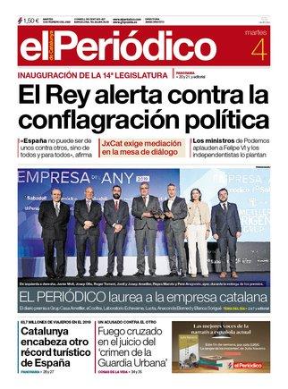 La portada de EL PERIÓDICO del 4 de febrero del 2020.