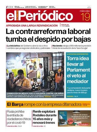 La portada de EL PERIÓDICO del 19 de febrero del 2020.