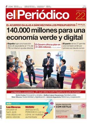 La portada de EL PERIÓDICO del 22 de julio.
