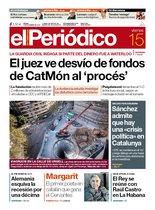 La portada de EL PERIÓDICO del 15 de noviembre del 2019.