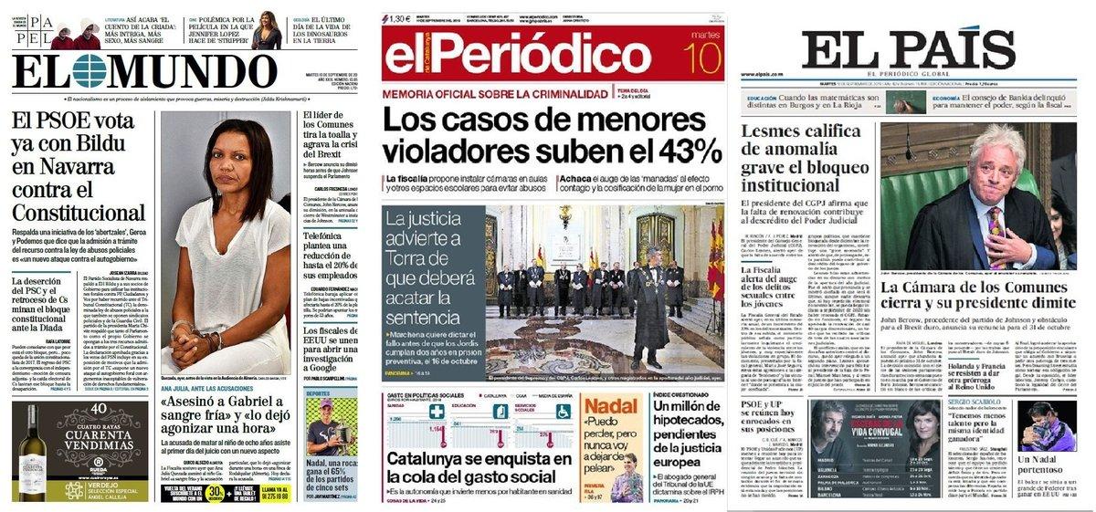 Prensa de hoy: Las portadas de los periódicos del martes 10 de septiembre del 2019