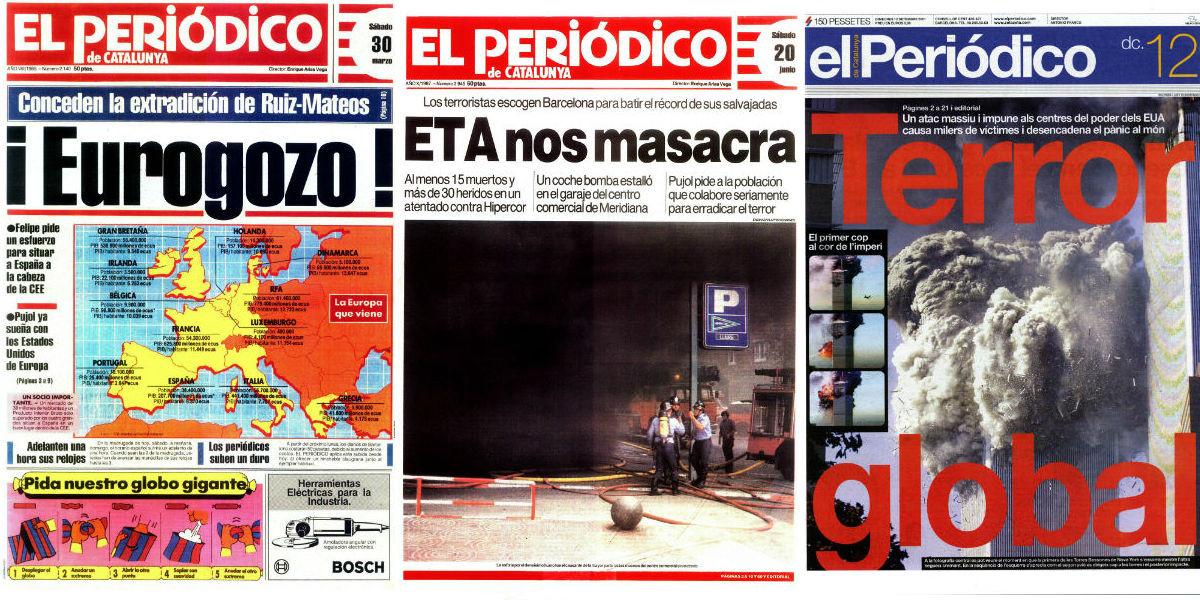 Portadas del 30 de marzo de 1985,20 de junio de 1987 y12 de septiembre de 2001