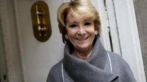 La portavoz del PP en el Ayuntamiento de Madrid, Esperanza Aguirre, durante la entrevista.
