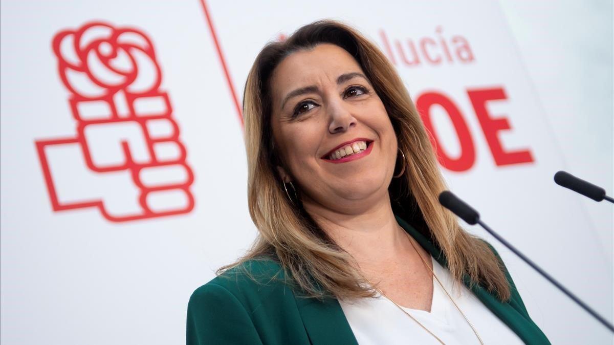 La presidenta andaluza en funciones, Susana Díaz, en la rueda de prensa que ha ofrecido este viernes.