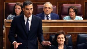 El presidente del Gobiernodurante su intervención en la sesión de control.