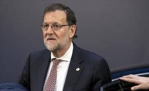 El presidente Mariano Rajoy a su llegada a Bruselas para participar en la cumbre europea