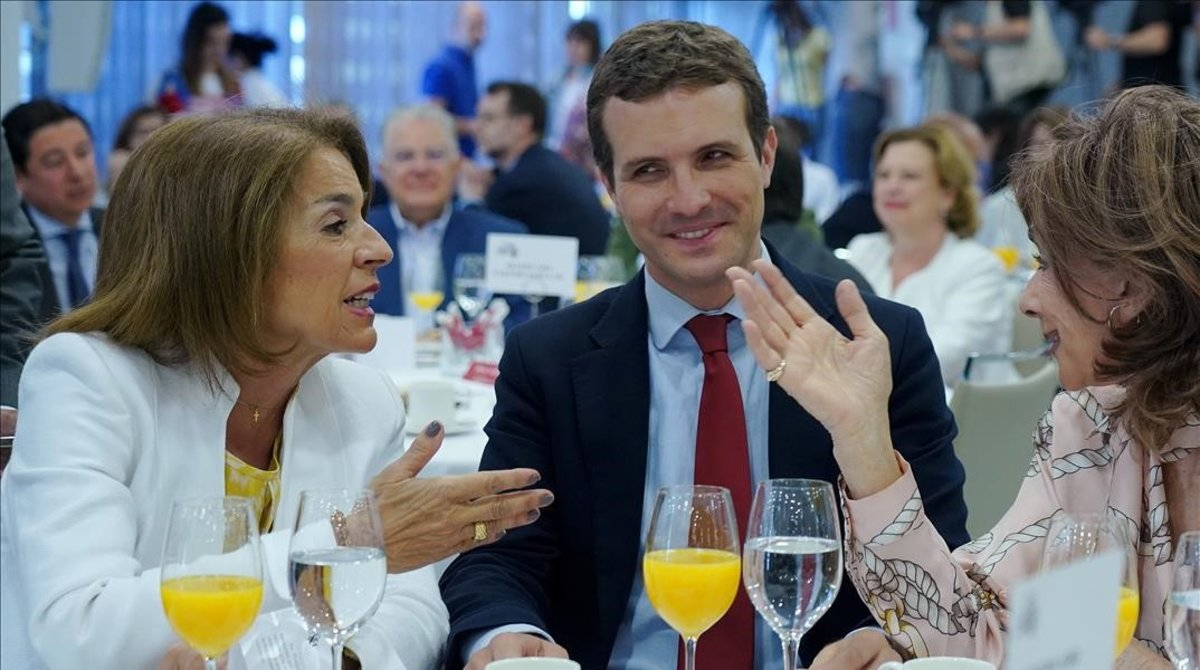 El presidente del PP, Pablo Casado, en un reciente desayuno informativo en el que participó