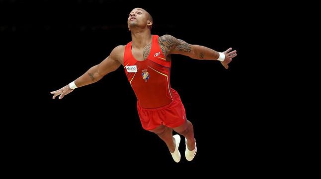 Rayderley Zapata, en la final de suelo de los Mundiales de gimnasia artística, en Glasgow.