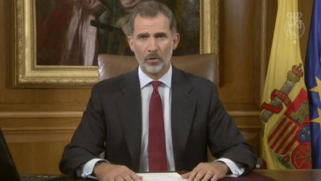 El rey Felipe VI, durante su discurso sobre la situación en Catalunya.