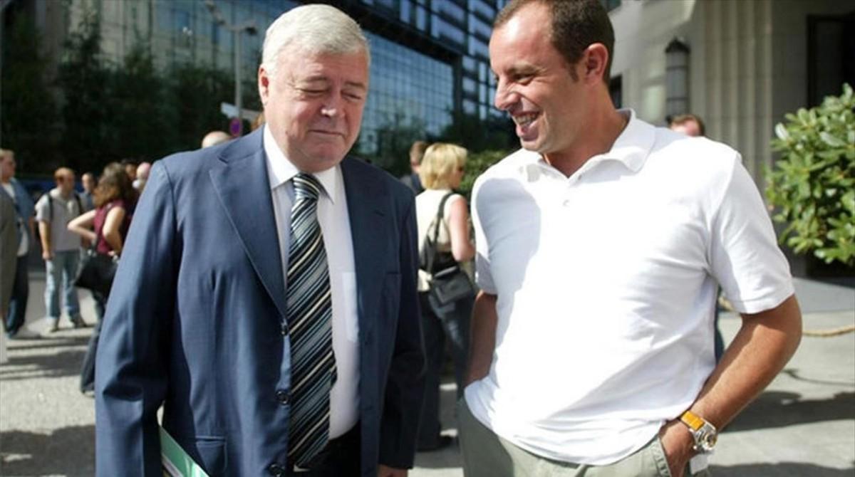 Ricardo Teixeira, expresidente de la CBF, y Sandro Rosell, expresidente del Barcelona.