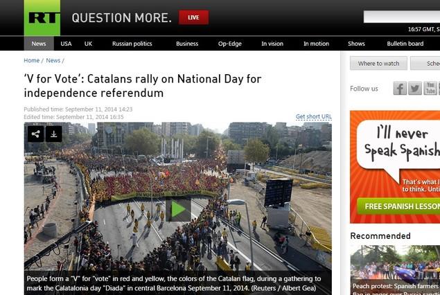 El diario ruso hace una mención especial al choque entre los gobiernos de Rajoy y Mas.