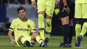 Sergi Roberto se lamenta de la lesión que sufrió en el Metropolitano.