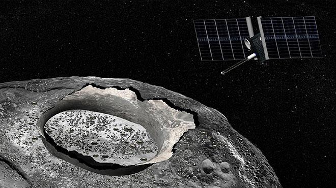 Los astrónomos descubren agua en la superficie del asteroide metálico más grande del sistema solar, denominado 16 Psyque.