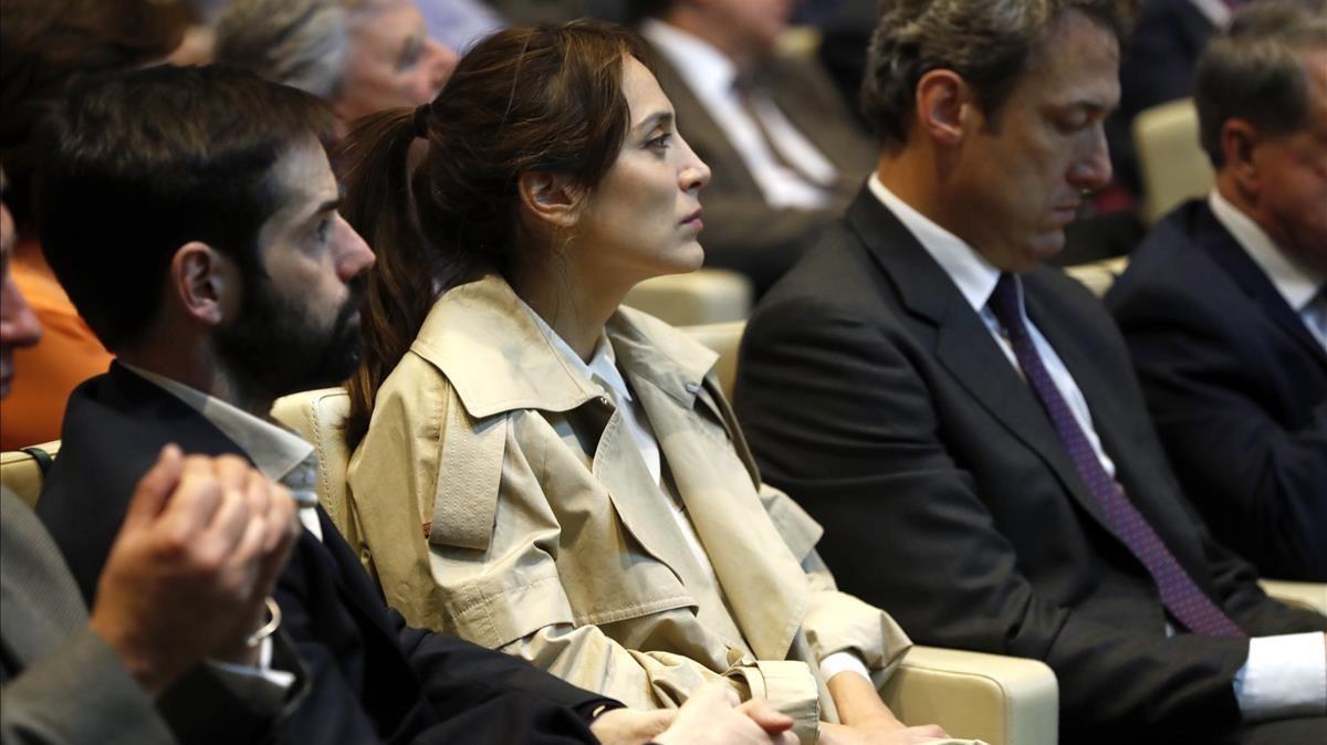Tamara Falcó asiste en Madrid a la presentación del libro de Mario Vargas Llosa La llamada de la tribu, el pasado día 21.