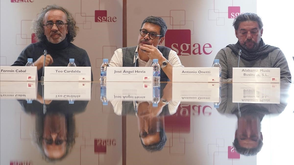 Teo Cardalda, José Ángel Hevia y Antonio Onetti, el pasado 18 de diciembre en la SGAE