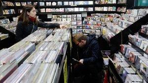 Un aspecto de la tienda de discos Revólver.