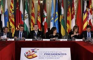 Una imagen de la conferencia de presidentes de este martes, en el Senado.