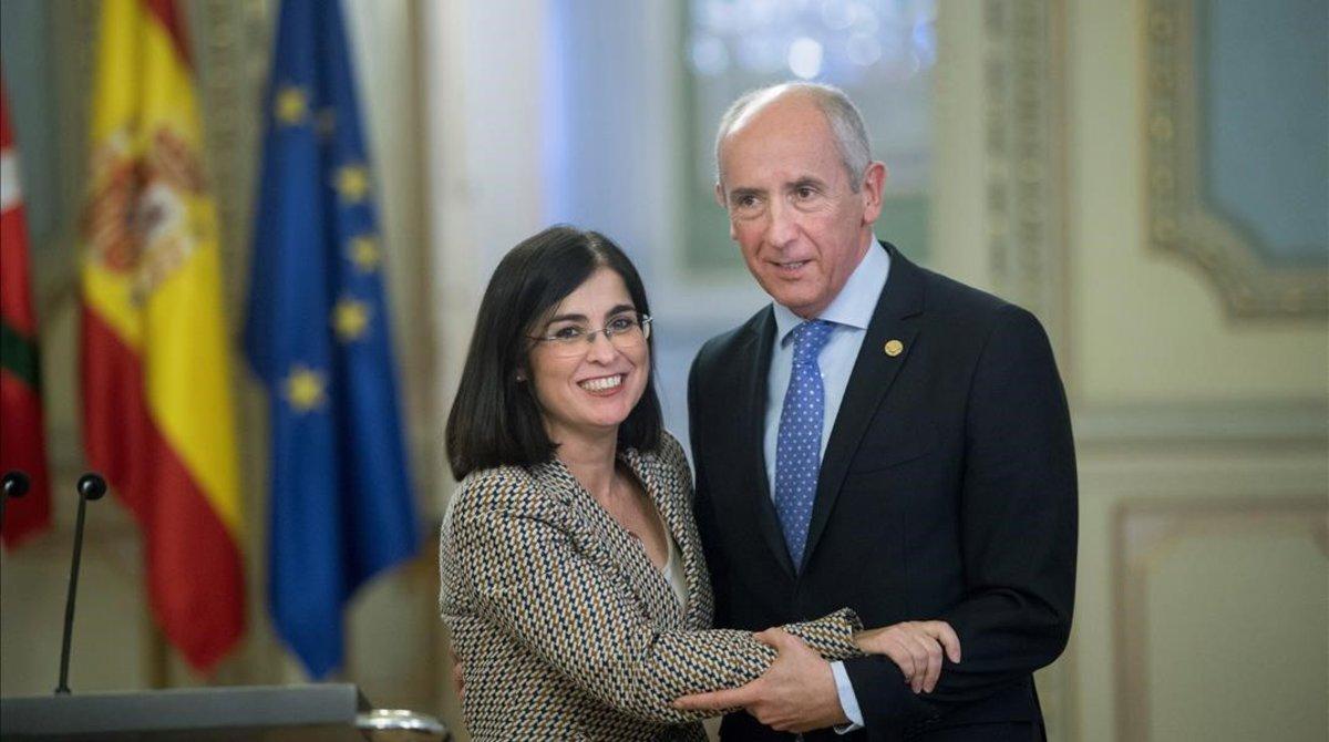 La ministra de Politica Territorial y Funcion Publica,Carolina Darias,y el portavoz del Gobierno Vasco y consejero de Autogobierno, Josu Erkoreka
