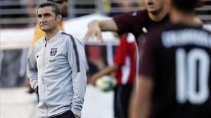 Valverde,durante el partido frente al Milan en la despedida de la gira.