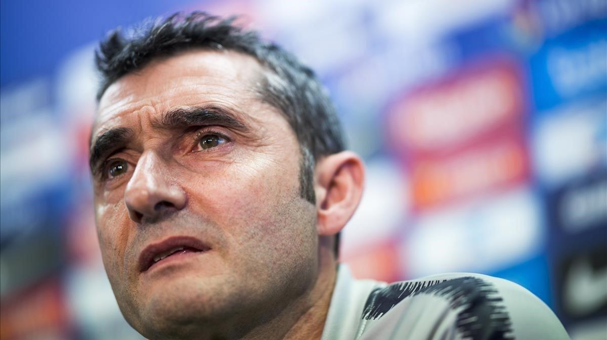 Valverde, en una rueda de prensa en la ciudad deportiva del Barça en Sant Joan Despí.