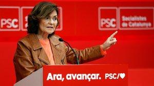 La vicepresidenta Carmen Calvo, en Barcelona, este sábado.