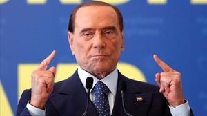 Berlusconi, en el mitin de su reaparición,en Fiuggi (centro de Italia). el pasado septiembre.