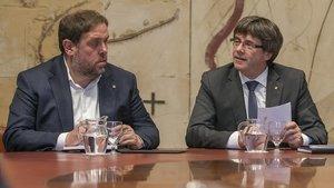 Oriol Junqueras y Carles Puigdemont, en una imagen de octubre del 2017.