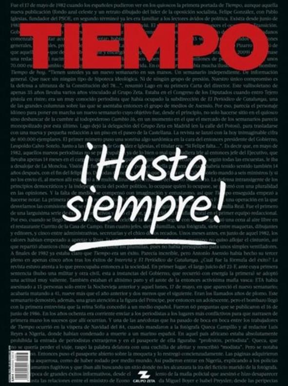 La revista 'Tiempo' se despide con un número especial