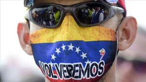 Manifestante contrario a Nicolás Maduro en la localidad fronteriza deCúcuta (Colombia), el 23 de febrero del 2019.