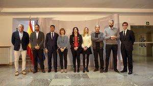 La secretaria de Estado para el Deporte María José Rienda (c) preside una de las reuniones, la pasada semana, para intentar desbloquear la huelga del fútbol femenino.