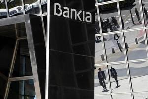 La acristalada fachada de la sede central de Bankia en Madrid.