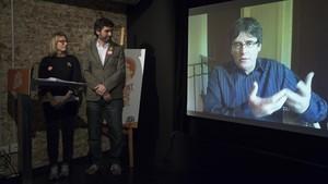 Acto de Junts per Catalunya donde Carles Puigdemont ha intervenido mediante vídeoconferencia.