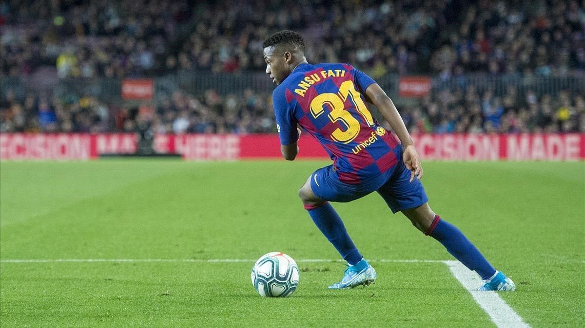 Ansu Fati, en el partido del Barça contra el Levante en el Camp Nou.