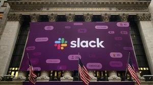 Anuncio de Slack en la bolsa de Nueva York, en el 2019.