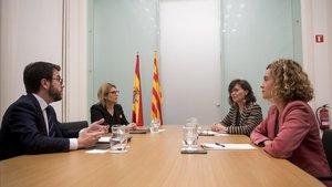 Aragonès, Artadi, Calvo y Batet, durante la reunión que mantuvieron en el Palau de Pedralbes el pasado 20 de diciembre.