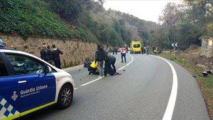 Accidente en lacarretera de lArrabassada, la más peligrosa de Catalunya, en una imagen de archivo.
