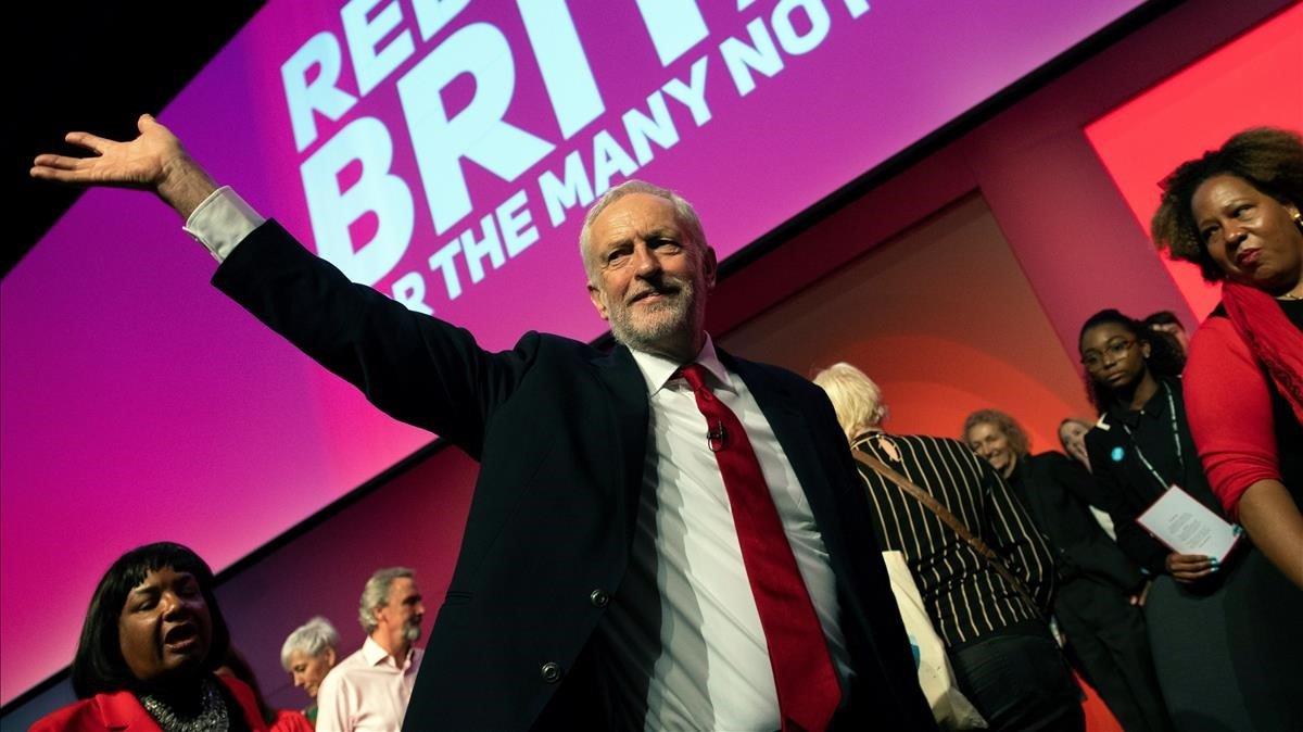 El líder del Partido Laborista, Jeremy Corbyn,durante el último día de la Conferencia Anual del Partido Laborista en Liverpool.