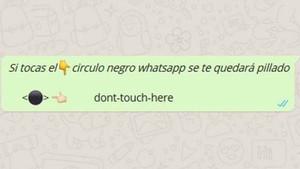 Broma viral 'Círculo negro, que bloquea Whatsapp.