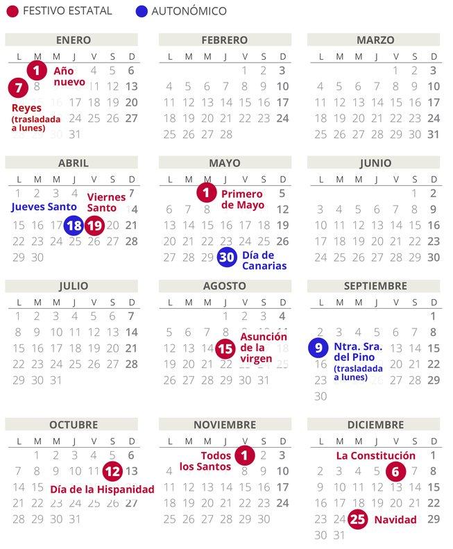 Calendario laboral de Canarias del 2019 (con todos los festivos)