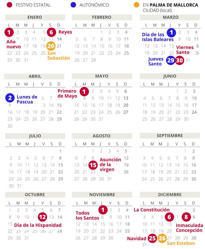 Calendario laboral de Palma (Mallorca) del 2018.