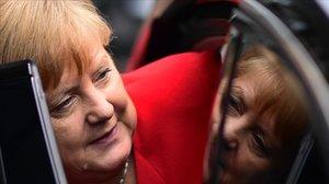 La cancillera Angela Merkel, tras su tradicional comparecencnia de verano en Berlín.