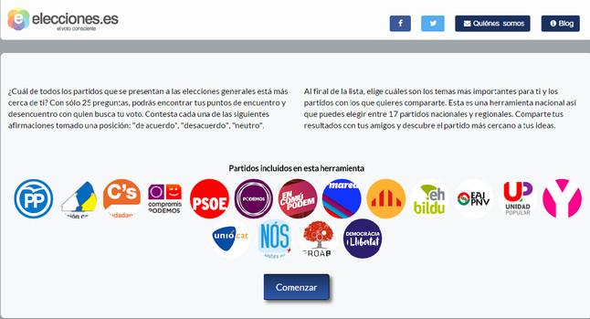Portada de la web Elecciones.es