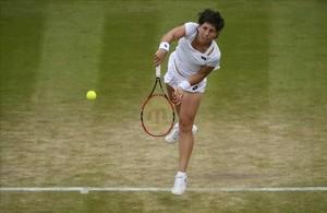 Carla Suárez, durante el partido en Wimbledon.