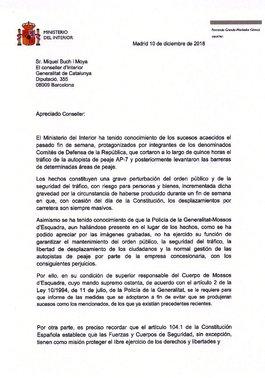 Carta del ministro Fernando Grande-Marlaska al 'conseller' Miquel Buch.