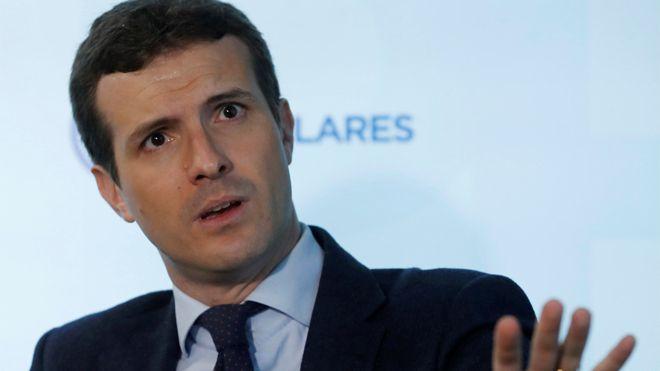 El presidente del PP, Pablo Casado, en la entrevista con la agencia Efe.