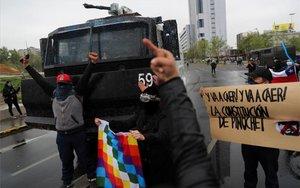 Protestas sociales en Santiago de Chile.