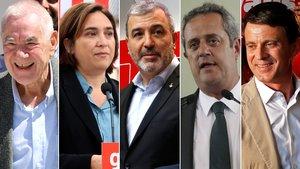 Los candidatos a la alcaldía de Barcelona, Ernest Maragall, Ada Colau, Jaume Collboni, Joaquim Forn y Manuel Valls.