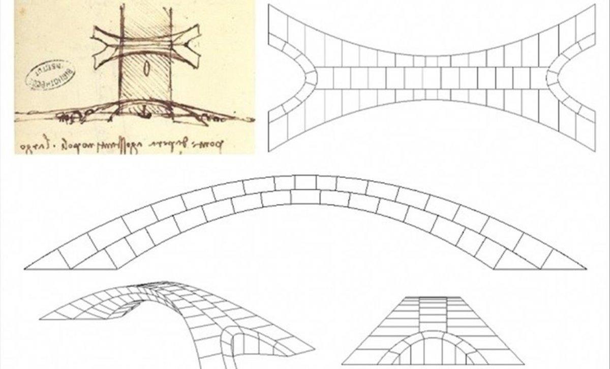 Concepto de megapuente ideado por Leonardo da Vinci para Estambul.