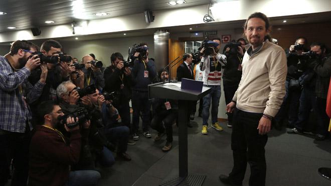 El líder de Podemos, Pablo Iglesias, en la rueda de prensa posterior a la reunión con Mariano Rajoy