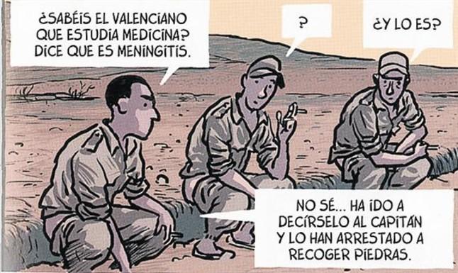 El dibujante Jaime Martín, ayer en Barcelona, dando la espalda a una escopeta (de mentira).